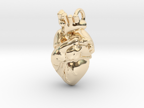 Anatomical Heart Pendant in 14K Yellow Gold