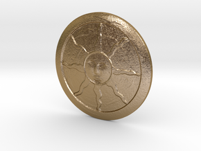 Warriors of Sunlight Sigil in Polished Gold Steel: Small