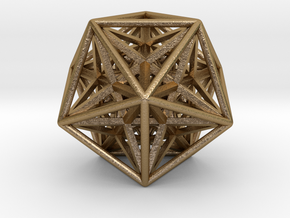 Super Icosahedron in Polished Gold Steel