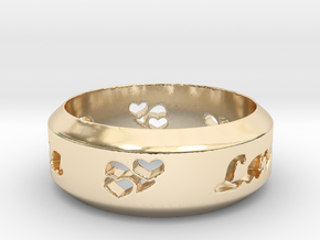 Anniversary Ring with Triple Hearts - May 7, 1990 in 14K Yellow Gold: 12 / 66.5