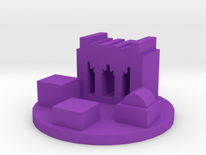 Game Piece, Ancient Persian City Token in Purple Processed Versatile Plastic