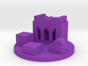 Game Piece, Ancient Persian City Token in Purple Processed Versatile Plastic
