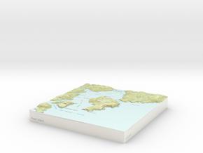Pearl Island - 15cm / 1:50k in Coated Full Color Sandstone