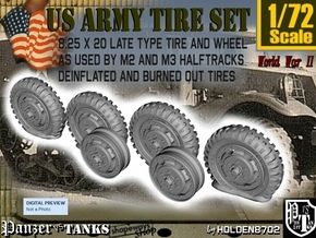 1-72 8-25x20 Worn Tire Halftrack Set3 in Smoothest Fine Detail Plastic