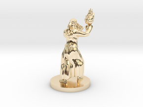 Kansif, the Half Orc Wizard with Book and Fireball in 14k Gold Plated Brass
