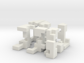 Cubed Burr II 6 cm version in White Natural Versatile Plastic