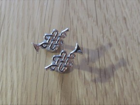 Infinity Knot Trumpet Cufflinks in Rhodium Plated Brass
