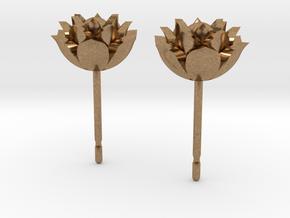 Lotus earrings in Natural Brass