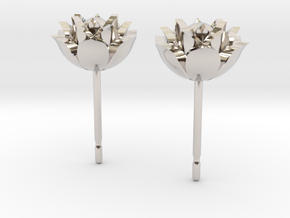 Lotus earrings in Rhodium Plated Brass