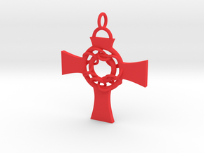 Celtic Circle Cross Pendant in Red Strong & Flexible Polished