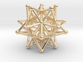 Stellated Icosahedron - 20 Pointed Merkaba in 14k Gold Plated Brass