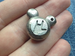 "Mickey Mouse ""I Love You"" Charm in Polished Nickel Steel"
