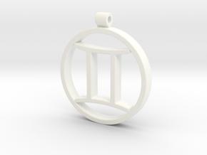Gemini Zodiac Sign Pendant in White Processed Versatile Plastic