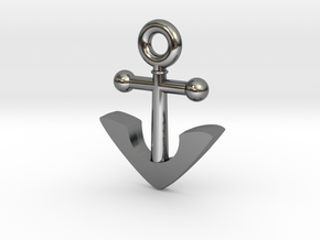 Anchor Pendant in Fine Detail Polished Silver