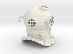 Diving Helmet in White Natural Versatile Plastic
