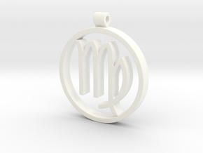 Virgo Zodiac Sign Pendant in White Strong & Flexible Polished