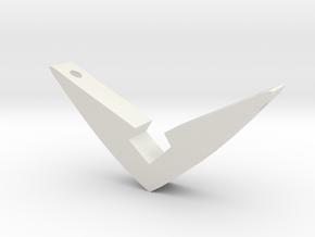 V Pendant Small (1.05 inch) in White Natural Versatile Plastic: Small