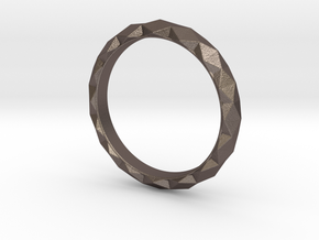 Unisex Geometric Band / Ring in Polished Bronzed Silver Steel: 5 / 49
