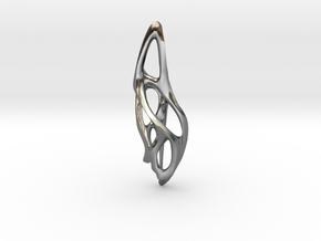 Voronoi Pendant top  in Polished Silver