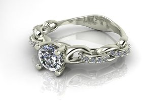 Link ring NO STONES SUPPLIED in Fine Detail Polished Silver