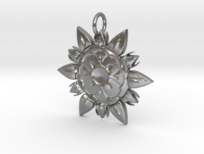 Elegant Chic Flower Pendant Charm in Natural Silver