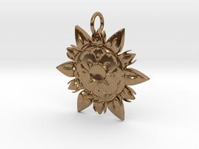 Elegant Chic Flower Pendant Charm in Natural Brass