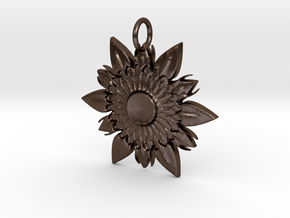 Elegant Chic Flower Pendant Charm in Polished Bronze Steel