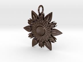 Elegant Chic Flower Pendant Charm in Polished Bronze Steel