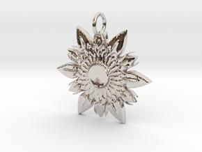 Elegant Chic Flower Pendant Charm in Platinum