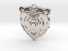 Angry Bear Cartoon Pendant Charm in Rhodium Plated Brass