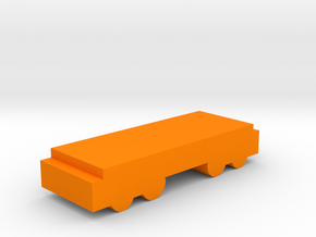 Game Piece, Freight Train Flat Car in Orange Strong & Flexible Polished