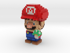 Super Plumber Red Bro Voxel Figurine in Full Color Sandstone