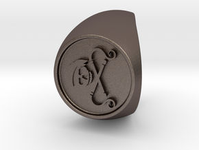 Custom Signet Ring 47 in Polished Bronzed Silver Steel
