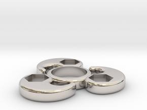 Single Bearing Hand Spinner in Rhodium Plated Brass