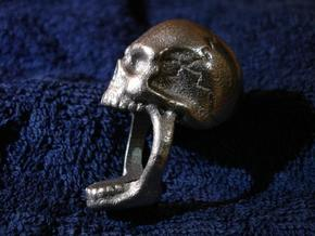 Skull Ring (size 7) in Polished Bronzed Silver Steel
