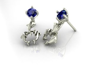Dolphin drop Earrings NO STONES SUPPLIED in Fine Detail Polished Silver