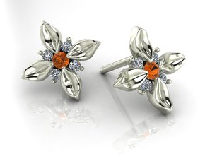 Flower stud earrings NO STONES SUPPLIED in Premium Silver