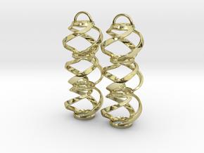Swirl 3 - Pair of earrings in cast metal in 18k Gold