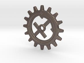 Sagittarius Gear in Polished Bronzed Silver Steel