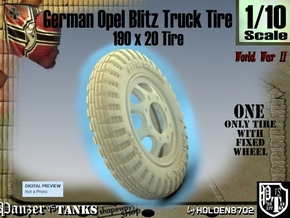 1-10 Opel Blitz Tire 190x20 in White Strong & Flexible