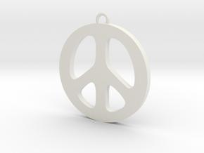 Peace Pendant in White Natural Versatile Plastic