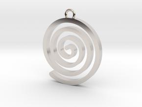 Spiral Pendant in Rhodium Plated Brass