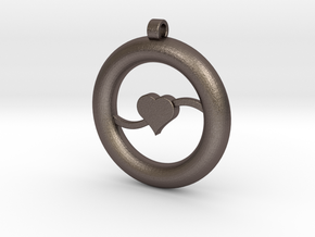 Ring Pendant - Heart in Polished Bronzed Silver Steel