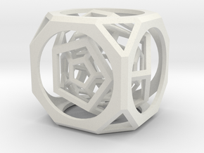 Multi-layer hollow polyhedron in White Natural Versatile Plastic: Medium