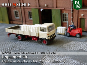 Mercedes-Benz LP 608 Pritsche (N 1:160) in Smooth Fine Detail Plastic