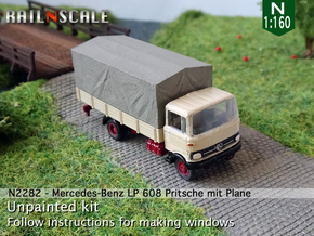 Mercedes-Benz LP 608 Pritsche mit Plane (N 1:160) in Smooth Fine Detail Plastic