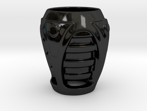 Sci-fi grenade cup in Gloss Black Porcelain