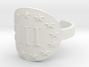 AP III% 3 Percenter  Ring Size 13 in White Natural Versatile Plastic