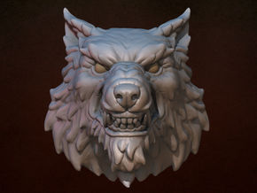 Wolf Head STL in White Natural Versatile Plastic