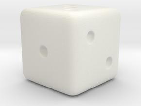 Dice 1.6cm in White Natural Versatile Plastic